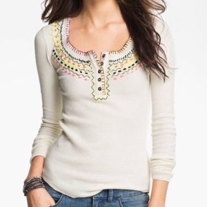 BOGO Free People • Embroidered Thermal Henley